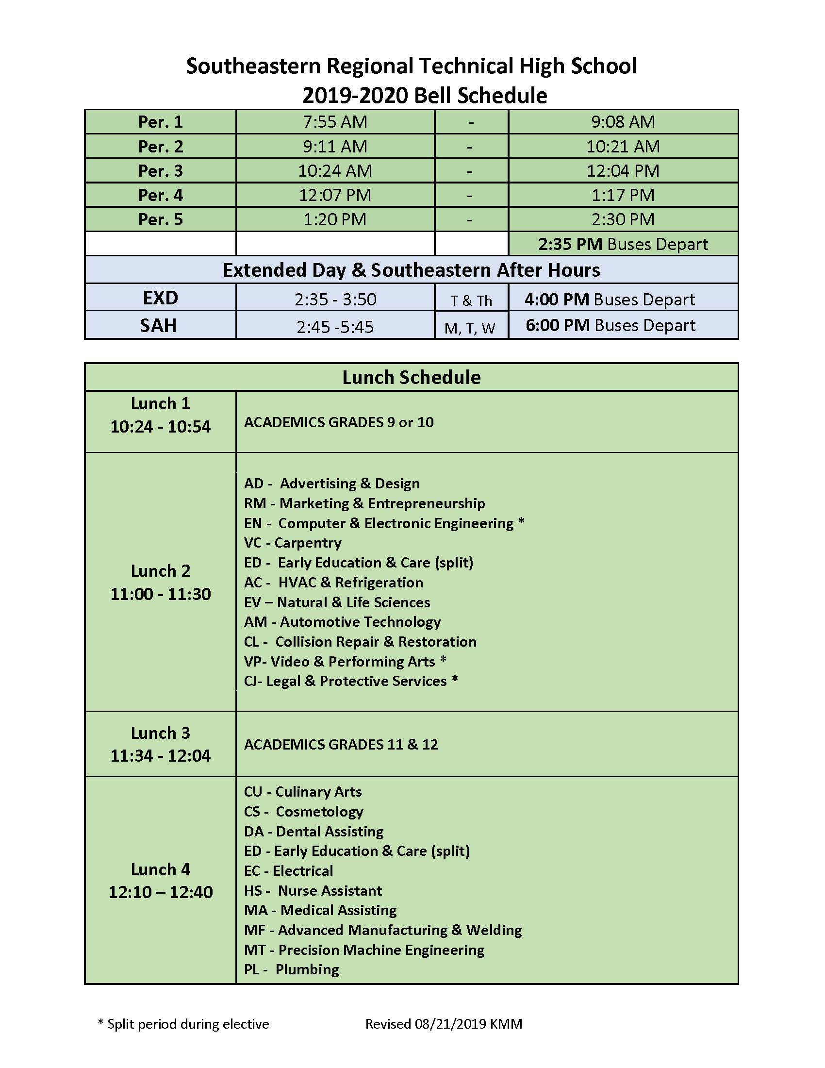 School Day Calendar   Southeastern Regional