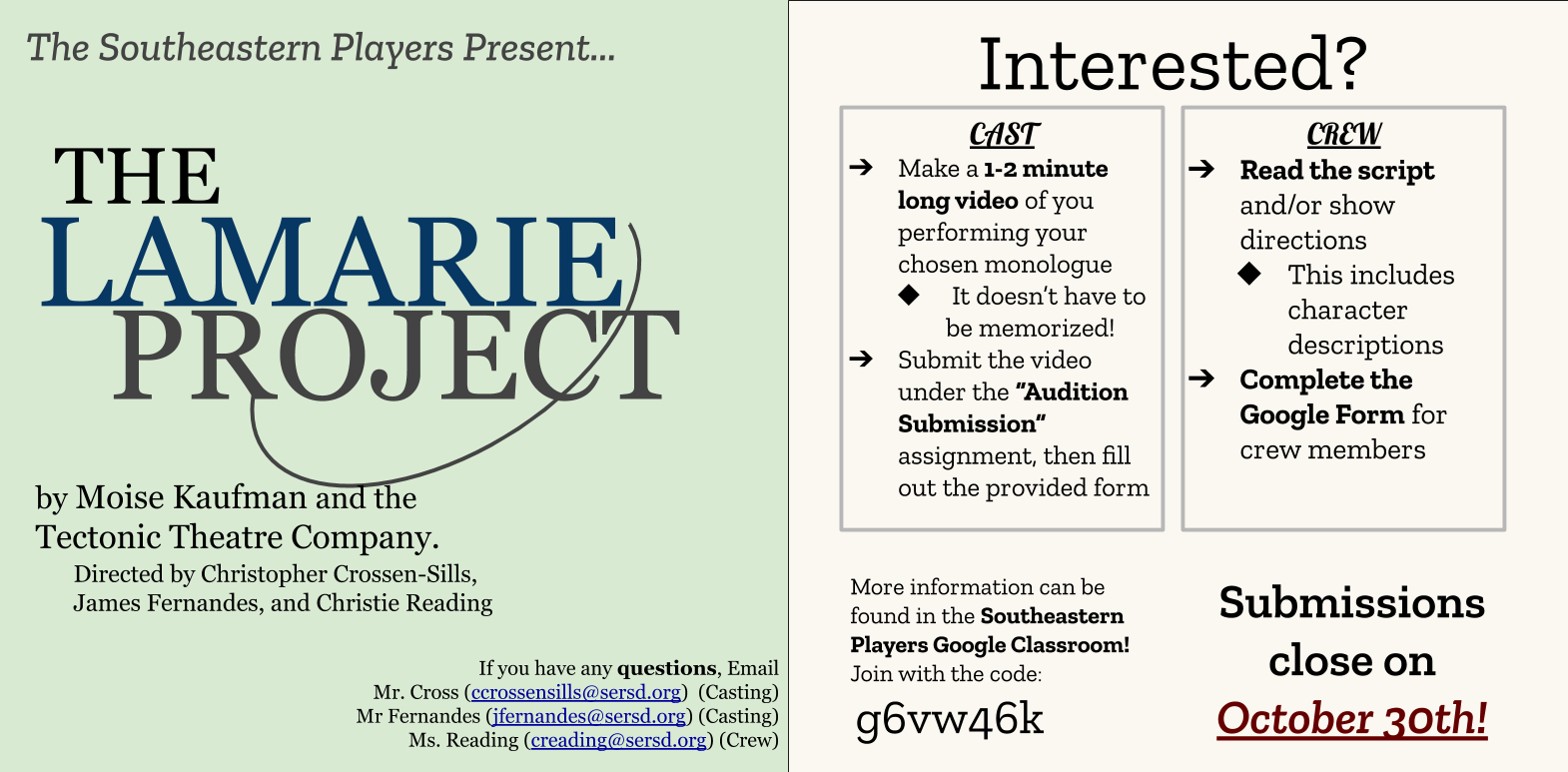 Southeastern Players present auditions for The Laramie Project